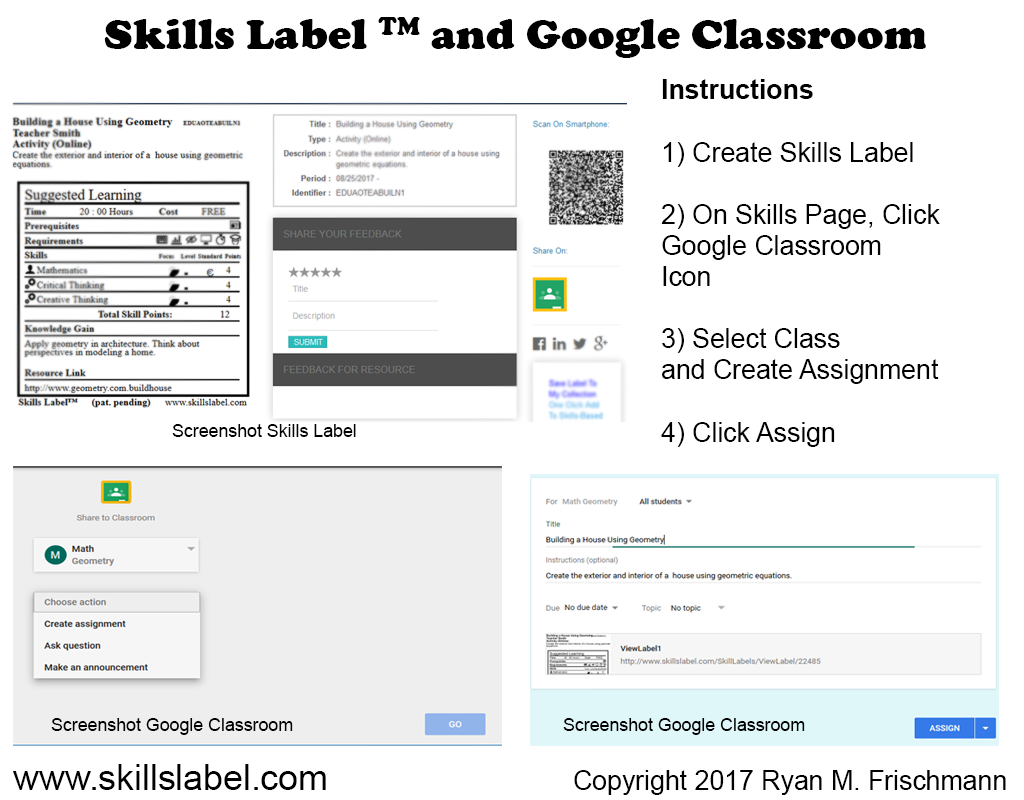 Import Skills Label Into Google Classroom As An Assignment. This Is Ideal:  Teachers Share A Standardized Display For Learning In Any Task (the Label)  With ...  Software Skills